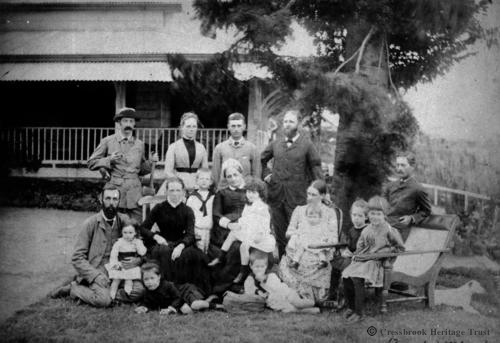 The McConnel & Somerset families near Grandfather's Tree at the Main House, Cressbrook - circa 1880's