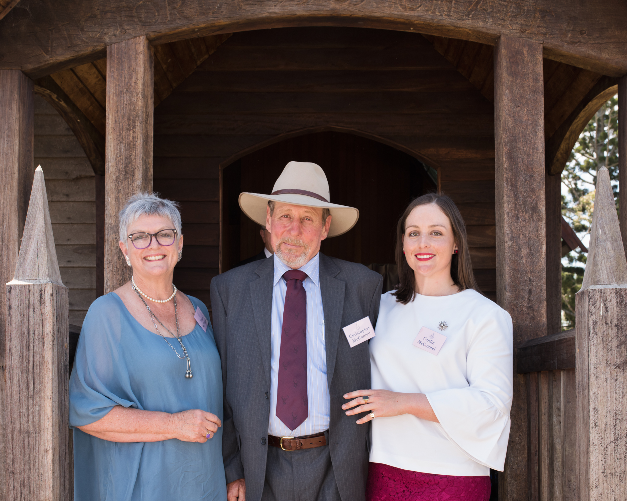 Susan, Christopher & Caitlin McConnel on the steps of the Victoria Chapel at Cressbrook following the Service of Thanksgiving held in celebration of the McConnel family's 175th anniversary at Cressbrook(c) Sarah Chandler Photography
